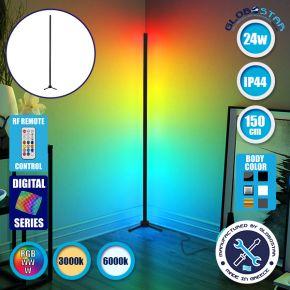 Μοντέρνο Minimal Επιδαπέδιο Μαύρο Φωτιστικό 150cm LED 24 Watt με Ασύρματο Χειριστήριο 2.4G RF & Dimmer RGBW+WW Πολύχρωμο Digital Magic Dot Pixel GloboStar ALIEN Design GLOBO-150-11