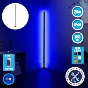 Μοντέρνο Minimal Επιδαπέδιο Μαύρο Φωτιστικό 150cm LED 24 Watt με Ασύρματο Χειριστήριο RF & Dimmer Μπλε GloboStar ALIEN Design GLOBO-150-6