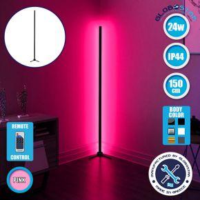 Μοντέρνο Minimal Επιδαπέδιο Μαύρο Φωτιστικό 150cm LED 24 Watt με Ασύρματο Χειριστήριο RF & Dimmer Ροζ GloboStar ALIEN Design GLOBO-150-7
