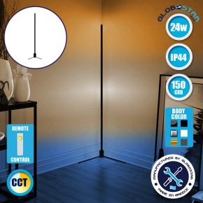 Μοντέρνο Minimal Επιδαπέδιο Μαύρο Φωτιστικό 150cm LED 24 Watt με Ασύρματο Χειριστήριο Αφής 2.4G RF & Dimmer CCT - Ψυχρό - Ημέρας - Θερμό GloboStar ALIEN Design GLOBO-150-10