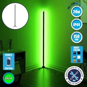 Μοντέρνο Minimal Επιδαπέδιο Μαύρο Φωτιστικό 150cm LED 24 Watt με Ασύρματο Χειριστήριο RF & Dimmer Πράσινο GloboStar ALIEN Design GLOBO-150-5