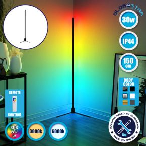 Μοντέρνο Minimal Επιδαπέδιο Μαύρο Φωτιστικό 150cm LED 30 Watt με Ασύρματο Χειριστήριο Αφής 2.4G RF & Dimmer RGBW+WW Πολύχρωμο - Ψυχρό - Ημέρας - Θερμό GloboStar ALIEN Design GLOBO-150-9