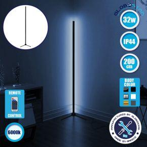 Μοντέρνο Minimal Επιδαπέδιο Μαύρο Φωτιστικό 200cm LED 32 Watt με Ασύρματο Χειριστήριο RF & Dimmer Ψυχρό Λευκό 6000k GloboStar ALIEN Design GLOBO-200-1