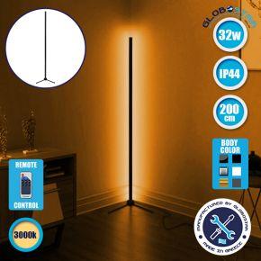 Μοντέρνο Minimal Επιδαπέδιο Μαύρο Φωτιστικό 200cm LED 32 Watt με Ασύρματο Χειριστήριο RF & Dimmer Θερμό Λευκό 3000k GloboStar ALIEN Design GLOBO-200-3