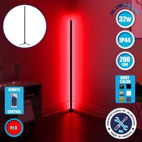 Μοντέρνο Minimal Επιδαπέδιο Μαύρο Φωτιστικό 200cm LED 32 Watt με Ασύρματο Χειριστήριο RF & Dimmer Κόκκινο GloboStar ALIEN Design GLOBO-200-4