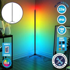 Μοντέρνο Minimal Επιδαπέδιο Μαύρο Φωτιστικό 200cm LED 32 Watt με Ασύρματο Χειριστήριο RF & Dimmer RGB GloboStar ALIEN Design GLOBO-200-8