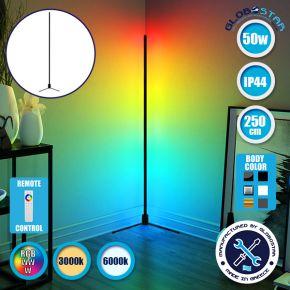 Μοντέρνο Minimal Επιδαπέδιο Μαύρο Φωτιστικό 250cm LED 50 Watt με Ασύρματο Χειριστήριο Αφής 2.4G RF & Dimmer RGBW+WW Πολύχρωμο - Ψυχρό - Ημέρας - Θερμό GloboStar ALIEN Design GLOBO-250-9