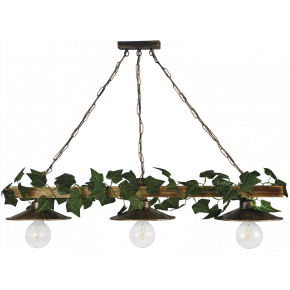 Heronia Κρεμαστό Φωτιστικό Ξύλινη Ράγα Με Αλυσίδα Και Φύλλα Κισσού 3xE27 R-150 RAGA EDEM