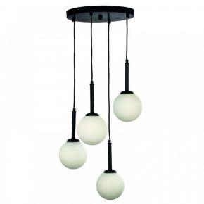 InLight Κρεμαστό φωτιστικό από μαύρο μέταλλο και λευκή οπαλίνα (4514-4 ΡΟΖΕΤΑ)
