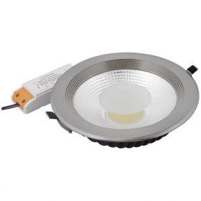 Spacelights Στρογγυλό LED Panel 30W Χωνευτό COB Silver