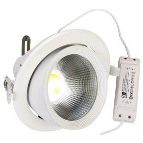 Spacelights Στρογγυλό LED Panel 30W Χωνευτό Κινητό COB