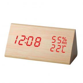 Telco Ξύλινο Ψηφιακό Ρολόι με Ένδειξη Θερμοκρασίας και Υγρασίας ΕΤ511A