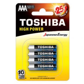 Toshiba High Power Αλκαλικές Μπαταρίες ΑAΑ LR03GCP BP-4 1.5V (4τεμ)