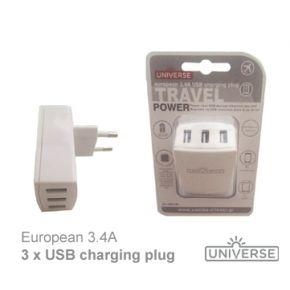 Universe Αντάπτορας Φόρτισης 3 x USB - 3.4A / DC5V
