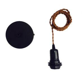 Universe Κρεμαστό Ντουι E27 με Καφέ Καλώδιο και Δαχτυλίδι για Καπέλο