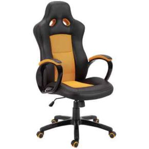Velco Καρέκλα Γραφείου Διευθυντική Bucket 66-23577 Μαύρη - Πορτοκαλί