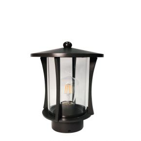 Viokef Απλίκα Φανάρι Εξωτερικού Χώρου Figi CFL/LED Max 25W E27 IP33 Μαύρο Αλουμίνιο Σκιάδιο Γυαλί