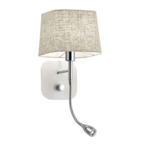 Viokef Απλίκα Τοίχου Hendrix LED 1W/Max 40W E14 Καπέλο Λευκό Λινό Πλαστικοποιημένο Βάση Νίκελ Ματ/Λευκή Μεταλλική