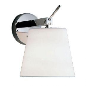 Viokef Απλίκα Τοίχου Onix Max 60W E27 Λευκό Πλαστικοποιημένο Υφασμα Βάση Νίκελ Ματ Μεταλλική