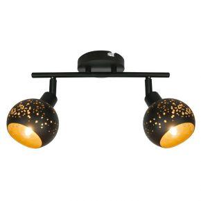 Viokef Δίφωτο Φωτιστικό Spot Οροφής Galaxy Max 42W E14 Μαύρο/Χρυσό Διάτρητο Μεταλλικό
