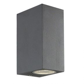 Viokef Δίφωτη Spot Απλίκα Εξωτερικού Χώρου Square Tilos Max 35W GU10 Ανθρακί Αλουμίνιο