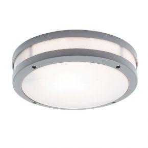Viokef Δίφωτη Πλαφονιέρα Εξωτερικού Χώρου Chios CFL/LED Max 18W E27 IP44 Γκρί Αλουμίνιο Σκίαδιο PC