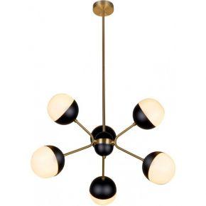 Viokef Εξάφωτο Κρεμαστό Φωτιστικό Οροφής Orbit Max 40W G9 Γυαλί Οπάλ Ματ Βάση Μαύρη/Χρυσή Μεταλλική
