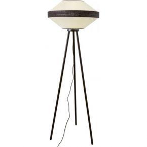 Viokef Φωτιστικό Δαπέδου Μονόφωτο Vilma Max 40W E27 Λευκό Υφασμάτινο Καπέλο Ξύλινο
