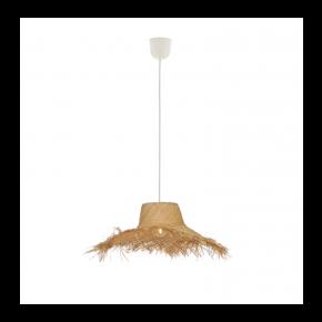 Viokef Κρεμαστό Φωτιστικό Οροφής Tetra Max 60W E27 Πλεχτό Καλάθι Φυσικό Χρώμα
