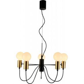 Viokef Πεντάφωτο Κρεμαστό Φωτιστικό Οροφής Volter Max 40W E27 Μαύρο/Χρυσό Μεταλλικό