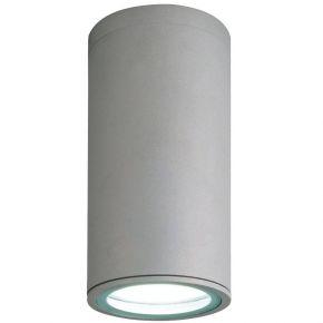 Viokef Πλαφονιέρα Εξωτερικού Χώρου Round Paros CFL/LED Max 18W E27 IP44 Γκρί Αλουμίνιο