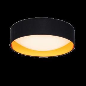 Viokef Πλαφονιέρα Οροφής Alice LED 24W Πλαστικοποιημένο Υφασμα Μαύρο/Χρυσό Ακρυλικό Σκιάδιο