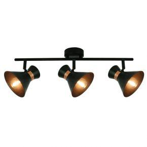 Viokef Τρίφωτο Φωτιστικό Spot Οροφής Kelly Max 42W E14 Μαύρο/Χάλκινο Μεταλλικό