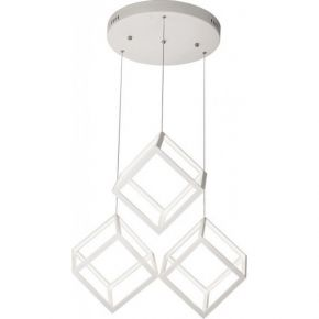 Viokef Τρίφωτο Κρεμαστό Φωτιστικό Οροφής Ice-Cube LED 86W Λευκό Μεταλλικό