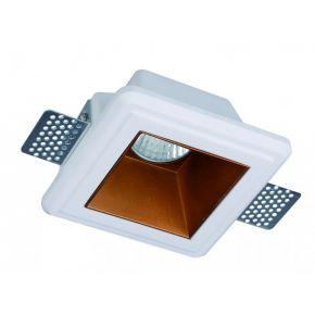 Viokef Χωνευτό Φωτιστικό Spot Οροφής Square Flame CFL/LED Max 13W GU10 Γύψινο Με Χάλκινο Reflector