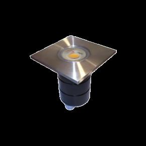 VK LED Spot Χωνευτό Εδάφους 50W Stainless ø50 GU10 Τετράγωνο Στεφάνι IP65
