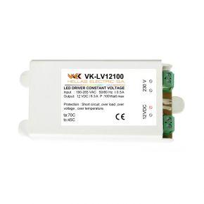 VK LED Τροφοδοτικό 100W 12V IP20