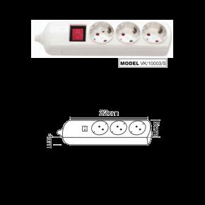 VK Πολύπριζο 3 Θέσεων 3680W με Διακόπτη χωρίς Καλώδιο Λευκό