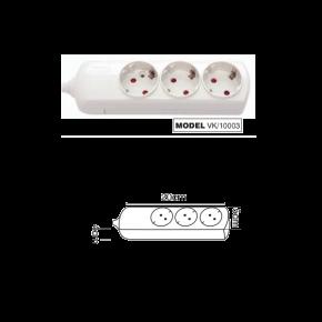 VK Πολύπριζο 3 Θέσεων 3680W χωρίς Διακόπτη/Καλώδιο Λευκό