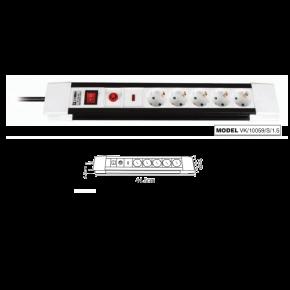 VK Πολύπριζο 5 Θέσεων 3500W με Καλώδιο/Διακόπτη Προστασία Υπέρτασης 1.5m