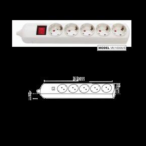 VK Πολύπριζο 5 Θέσεων 3680W με Διακόπτη χωρίς Καλώδιο Λευκό