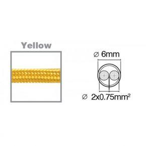 VK Υφασμάτινο Καλώδιο Στρογγυλό 2x0.75 3m Κίτρινο