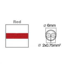 VK Υφασμάτινο Καλώδιο Στρογγυλό 2x0.75 3m Κόκκινο