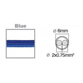 VK Υφασμάτινο Καλώδιο Στρογγυλό 2x0.75 3m Μπλε