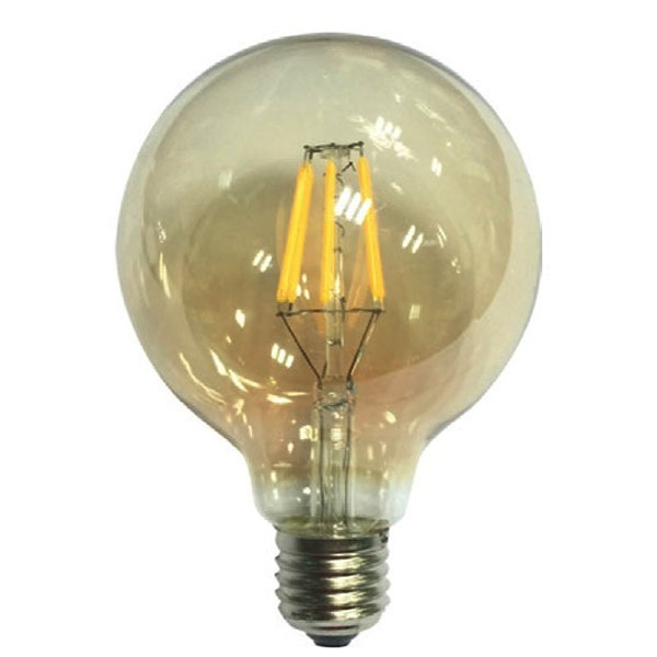 Dio LED Λάμπα 6W E27 Filament Amber G95 Dimmable