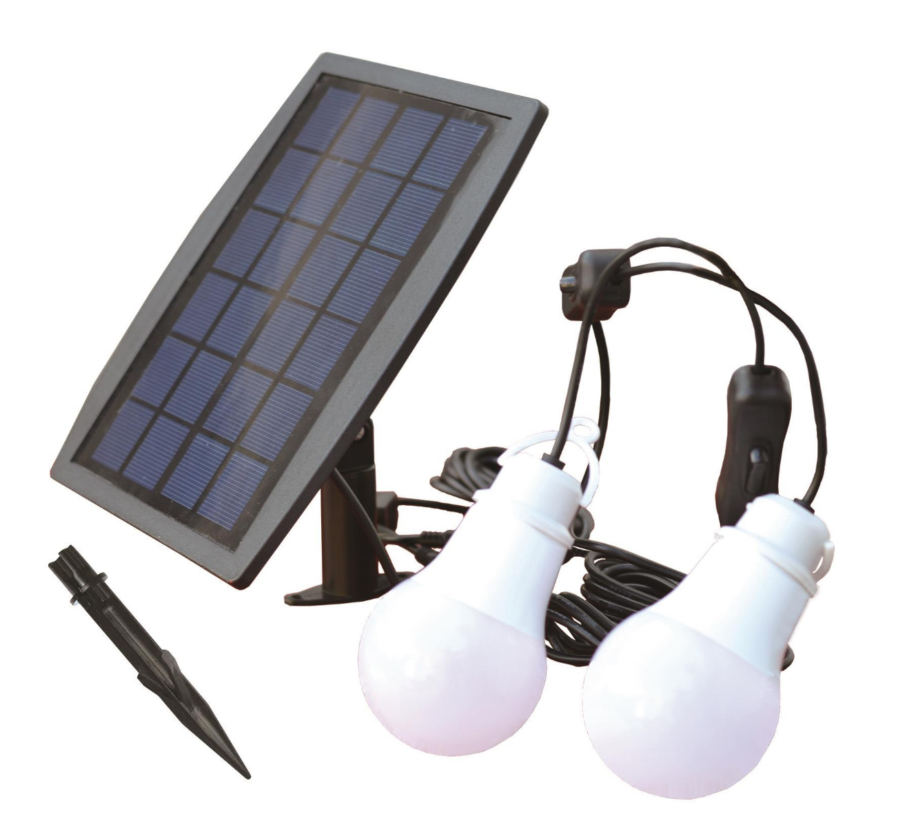 Eurolamp LED Σετ 2 Λαμπτήρων 1.6W με ηλιακό Πάνελ