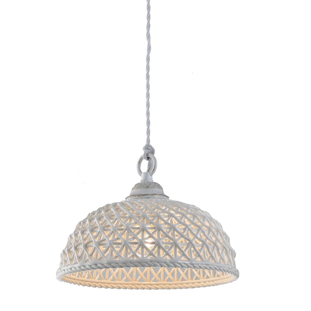 InLight Φωτιστικό Οροφής Με Λευκό Στριφτό Καλώδιο Και Λευκό Κεραμικό Καπέλο Ε27
