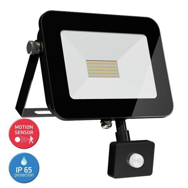 SL LED Προβολέας 30W Floodlight Tablet Λεπτός Motion Sensor IP65