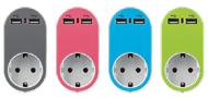 Eurolamp Αντάπτορας Ασφάλειας Σούκο Και 2 USB 5V 2.4A